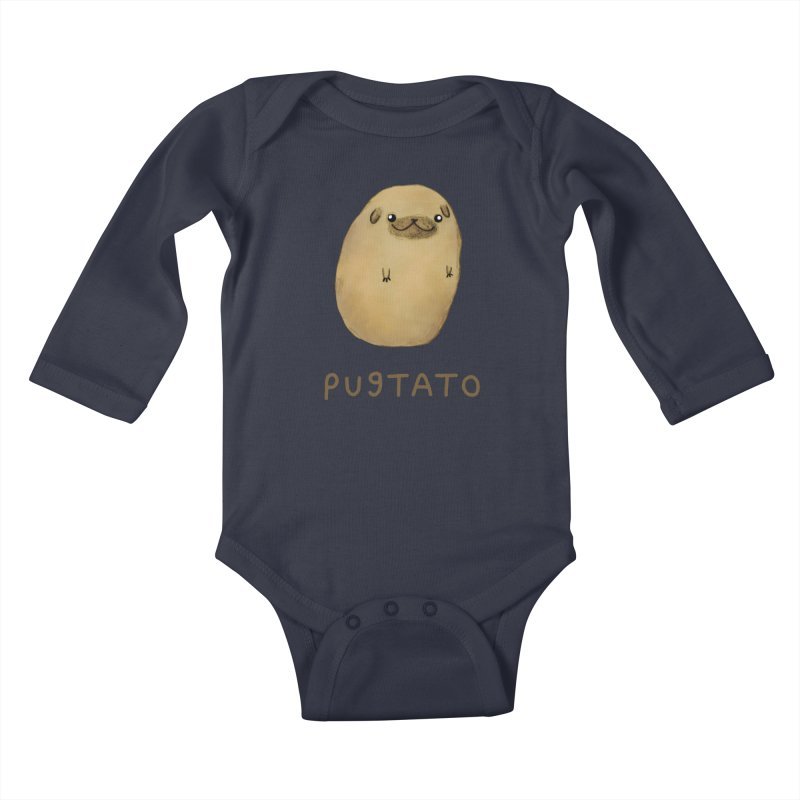 Pugtato Kids Baby Longsleeve Bodysuit by Sophie Corrigan's Artist Shop