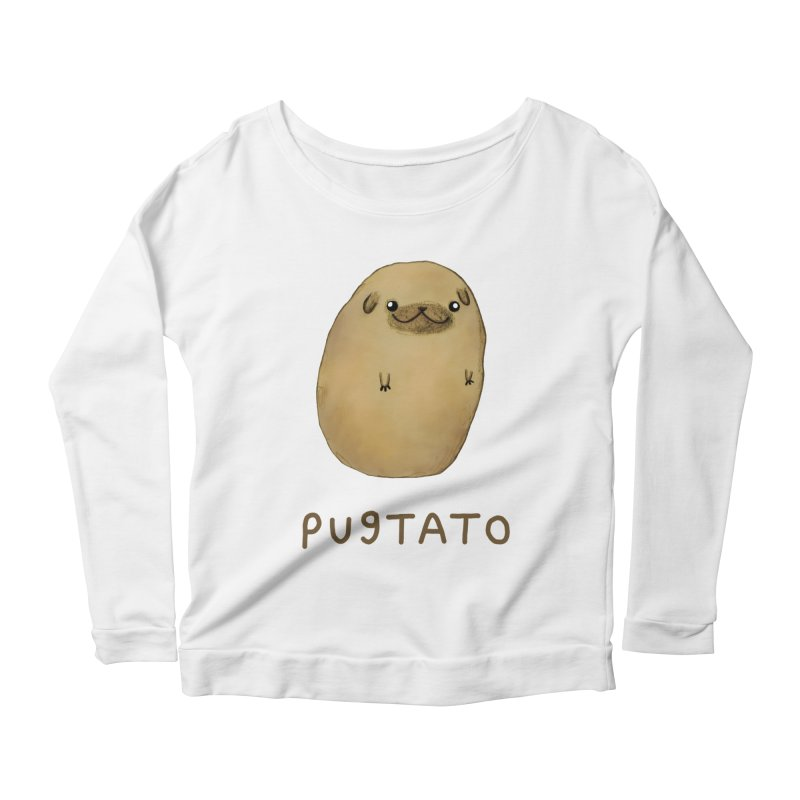 Pugtato Women's Scoop Neck Longsleeve T-Shirt by Sophie Corrigan's Artist Shop
