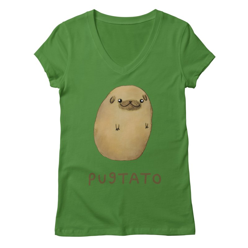 Pugtato Women's Regular V-Neck by Sophie Corrigan's Artist Shop