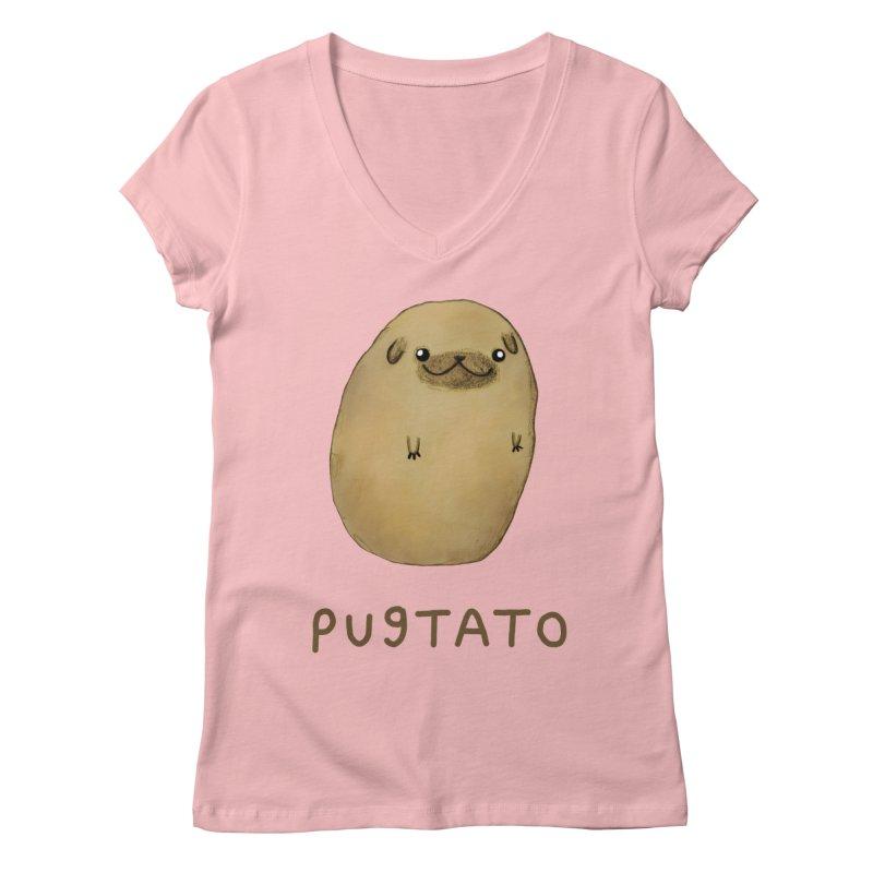 Pugtato Women's Regular V-Neck by Sophie Corrigan's Artist Shop