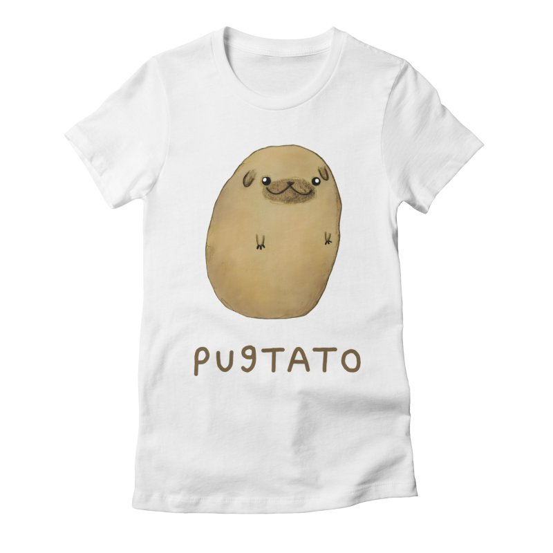 Pugtato Women's Fitted T-Shirt by Sophie Corrigan's Artist Shop