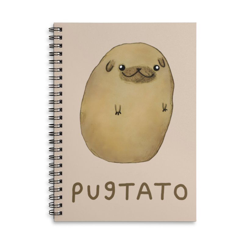 Pugtato Accessories Lined Spiral Notebook by Sophie Corrigan's Artist Shop