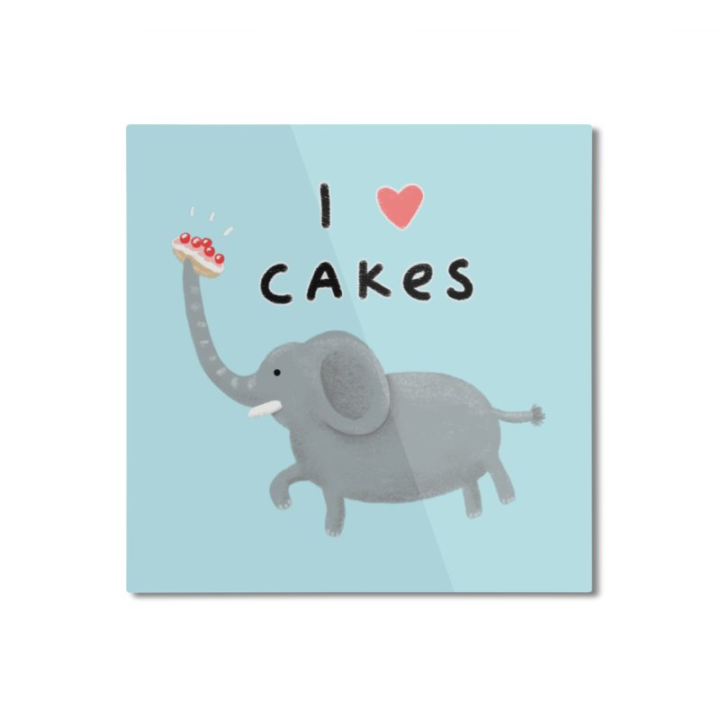 Elephant Loves Cakes Home Mounted Aluminum Print by Sophie Corrigan Shop