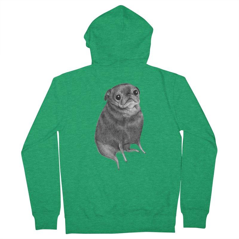 Sweet Black Pug Men's Zip-Up Hoody by Sophie Corrigan Shop