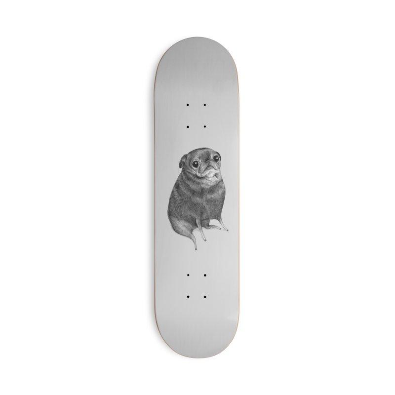 Sweet Black Pug Accessories Skateboard by Sophie Corrigan Shop