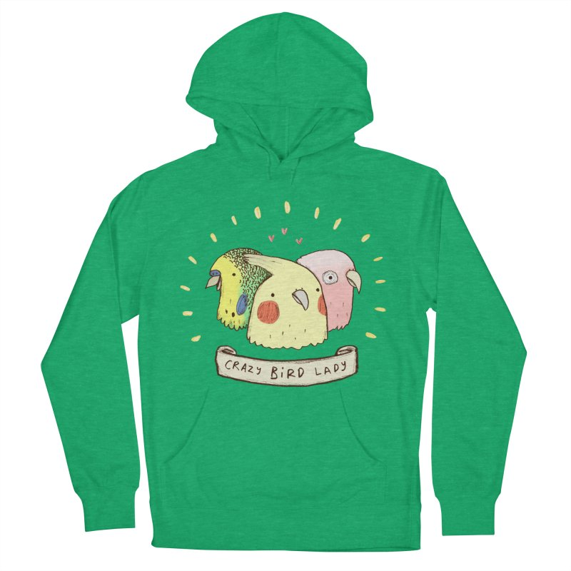 Crazy Bird Lady Women's French Terry Pullover Hoody by Sophie Corrigan's Artist Shop