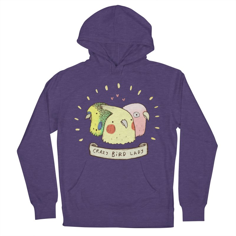 Crazy Bird Lady Men's French Terry Pullover Hoody by Sophie Corrigan's Artist Shop