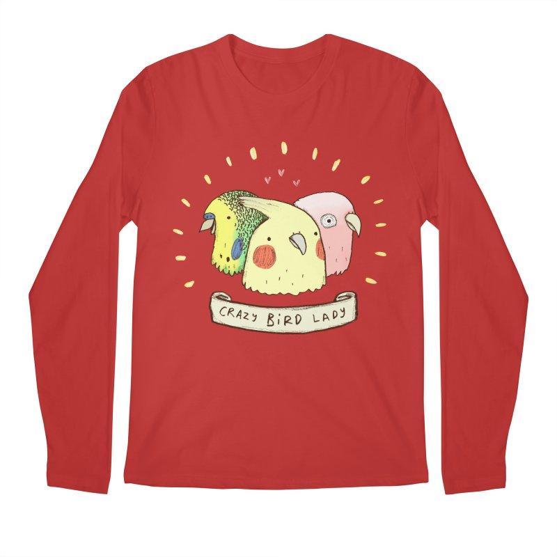 Crazy Bird Lady Men's Regular Longsleeve T-Shirt by Sophie Corrigan's Artist Shop
