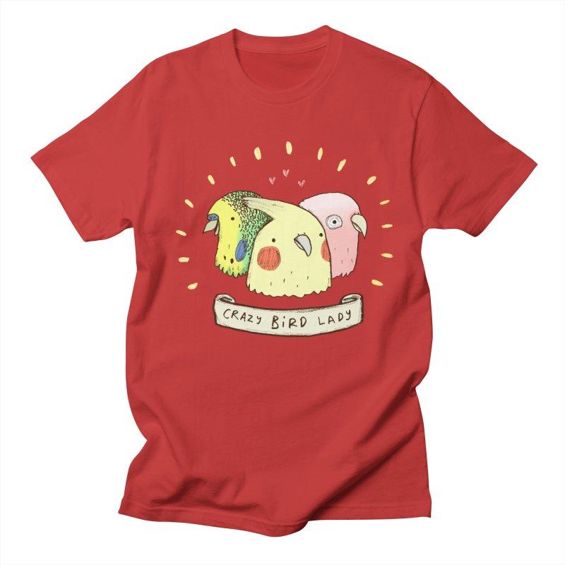 Crazy Bird Lady Men's Regular T-Shirt by Sophie Corrigan's Artist Shop