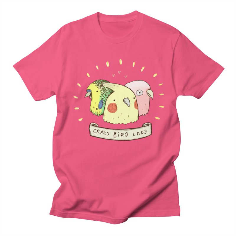Crazy Bird Lady Men's T-Shirt by Sophie Corrigan's Artist Shop