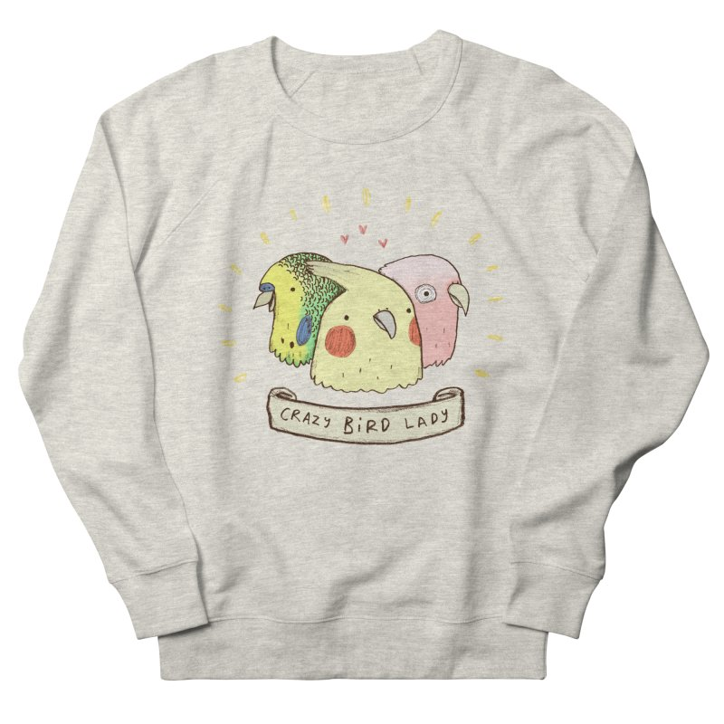 Crazy Bird Lady Men's French Terry Sweatshirt by Sophie Corrigan's Artist Shop