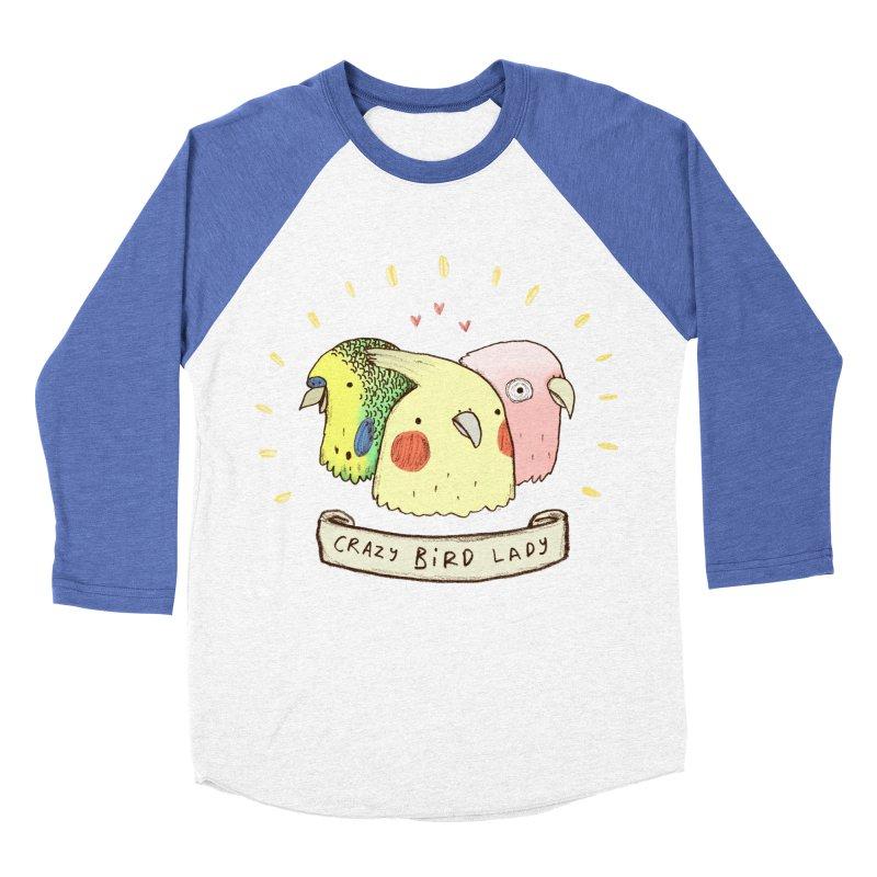 Crazy Bird Lady Women's Baseball Triblend Longsleeve T-Shirt by Sophie Corrigan's Artist Shop