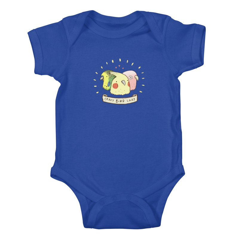 Crazy Bird Lady Kids Baby Bodysuit by Sophie Corrigan's Artist Shop