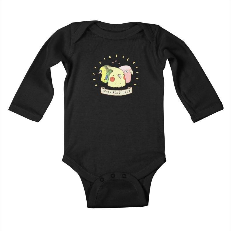 Crazy Bird Lady Kids Baby Longsleeve Bodysuit by Sophie Corrigan's Artist Shop
