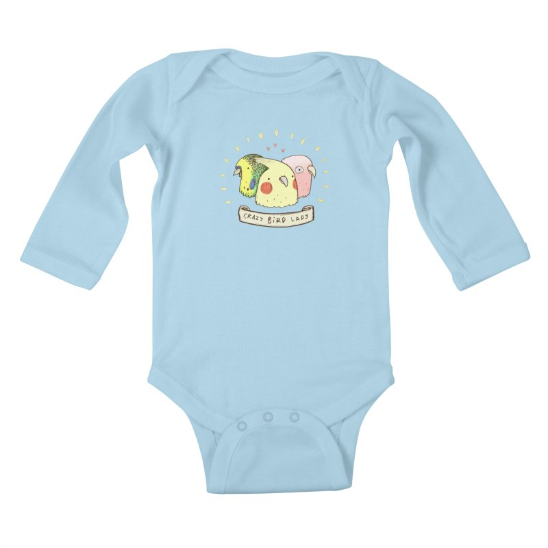 Crazy Bird Lady Kids Baby Longsleeve Bodysuit by Sophie Corrigan's Artist Shop