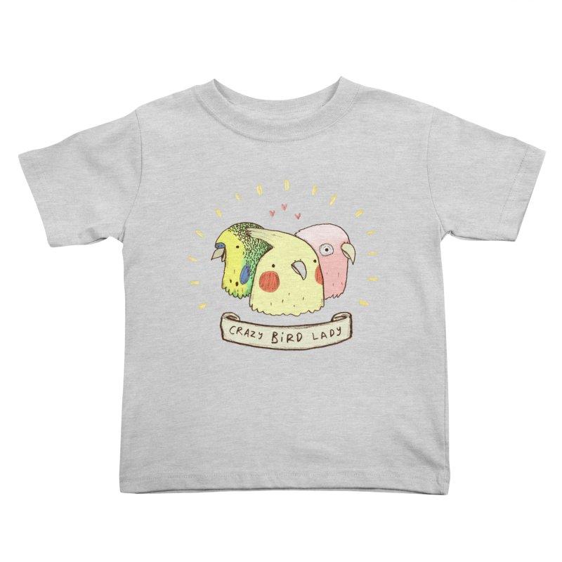 Crazy Bird Lady Kids Toddler T-Shirt by Sophie Corrigan's Artist Shop