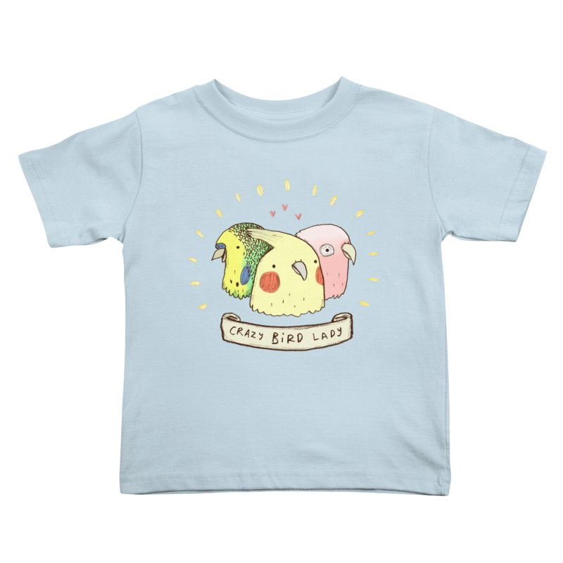 Crazy Bird Lady Kids Toddler T-Shirt by Sophie Corrigan's Artist Shop