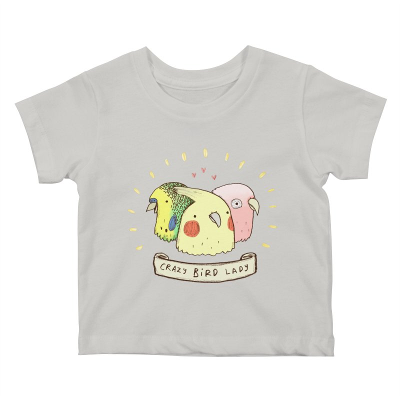 Crazy Bird Lady Kids Baby T-Shirt by Sophie Corrigan's Artist Shop