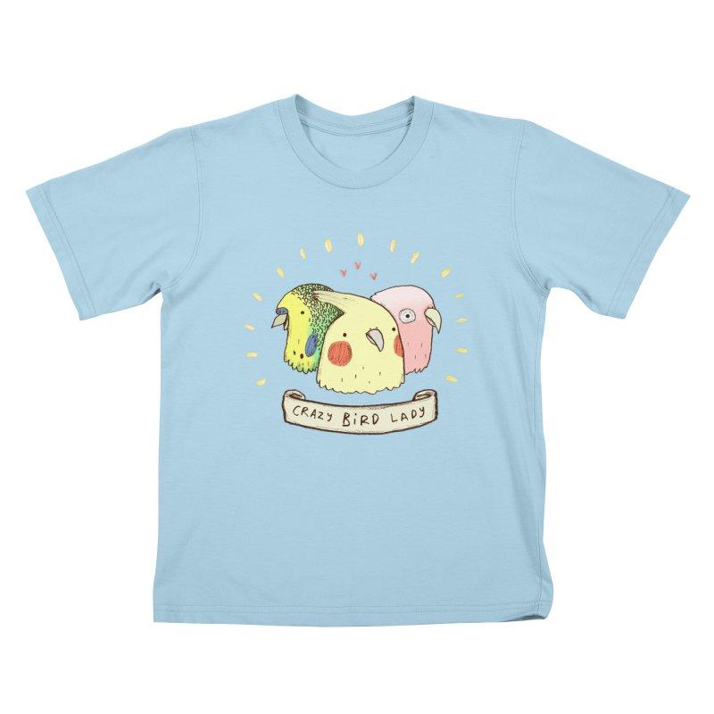Crazy Bird Lady Kids T-Shirt by Sophie Corrigan's Artist Shop