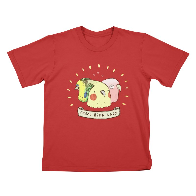 Crazy Bird Lady Kids T-Shirt by Sophie Corrigan's Artist Shop