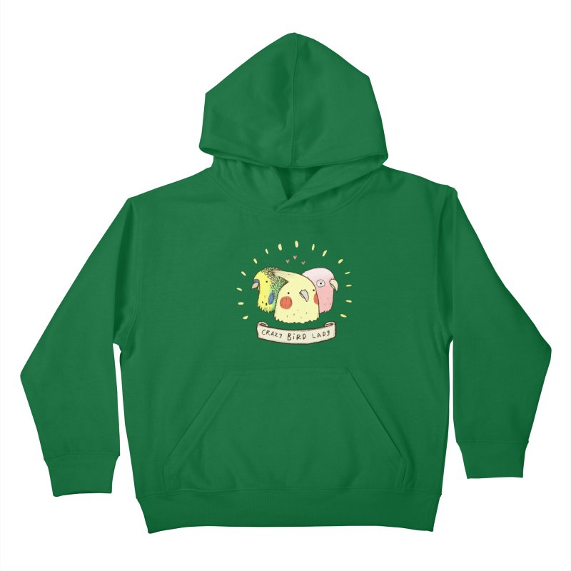 Crazy Bird Lady Kids Pullover Hoody by Sophie Corrigan's Artist Shop