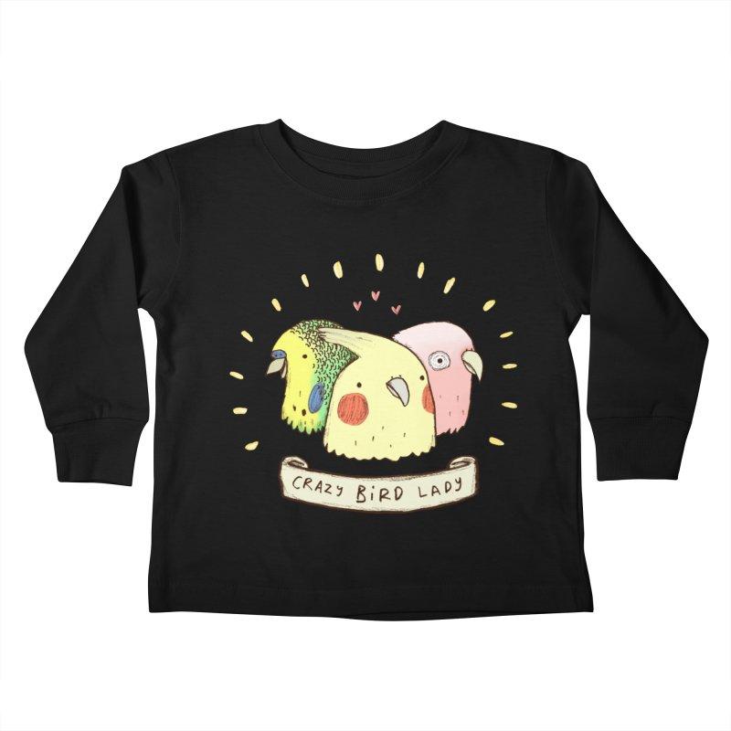 Crazy Bird Lady Kids Toddler Longsleeve T-Shirt by Sophie Corrigan's Artist Shop