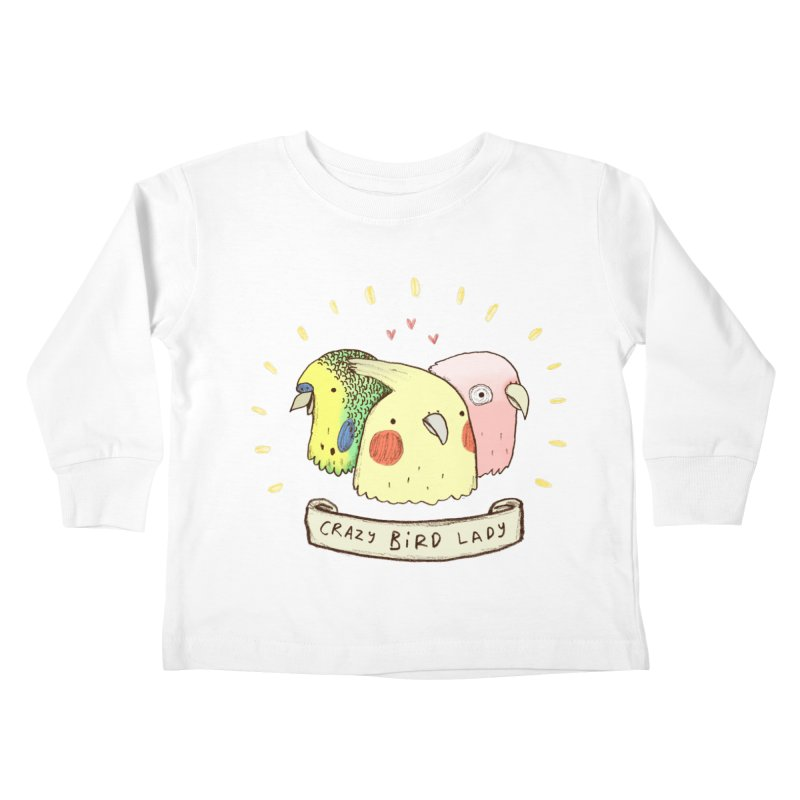 Crazy Bird Lady Kids Toddler Longsleeve T-Shirt by Sophie Corrigan's Artist Shop