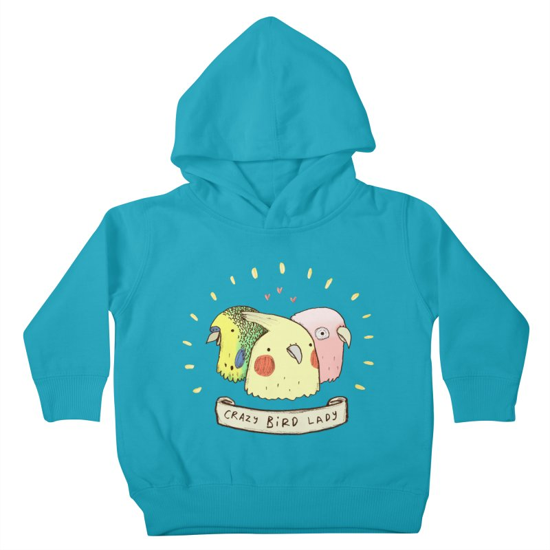 Crazy Bird Lady Kids Toddler Pullover Hoody by Sophie Corrigan's Artist Shop