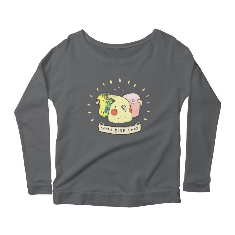 Crazy Bird Lady Women's Scoop Neck Longsleeve T-Shirt by Sophie Corrigan's Artist Shop