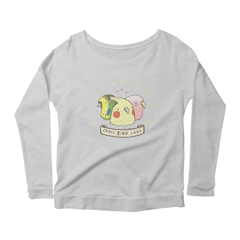 Crazy Bird Lady Women's Scoop Neck Longsleeve T-Shirt by Sophie Corrigan's Artist Shop