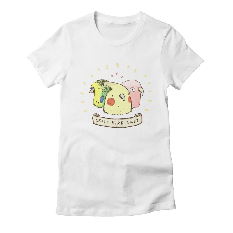 Crazy Bird Lady Women's Fitted T-Shirt by Sophie Corrigan's Artist Shop