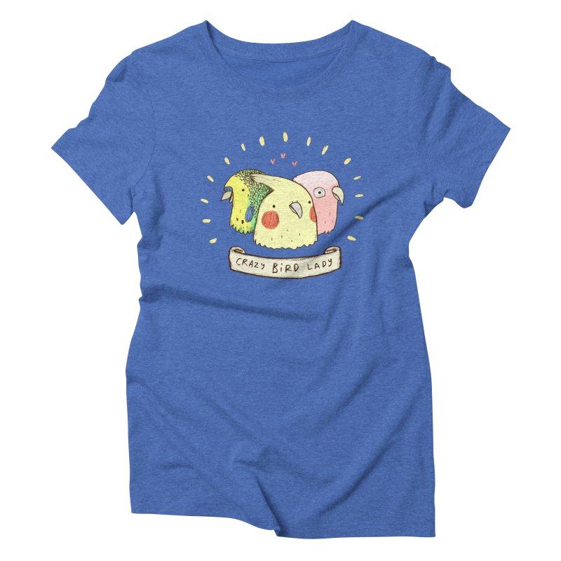 Crazy Bird Lady Women's Triblend T-Shirt by Sophie Corrigan's Artist Shop