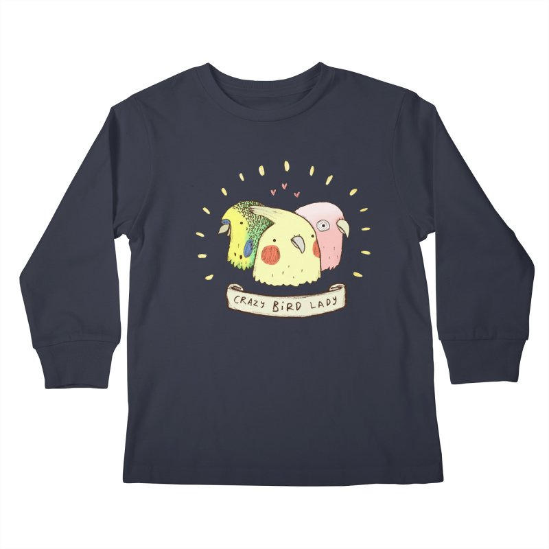 Crazy Bird Lady Kids Longsleeve T-Shirt by Sophie Corrigan's Artist Shop
