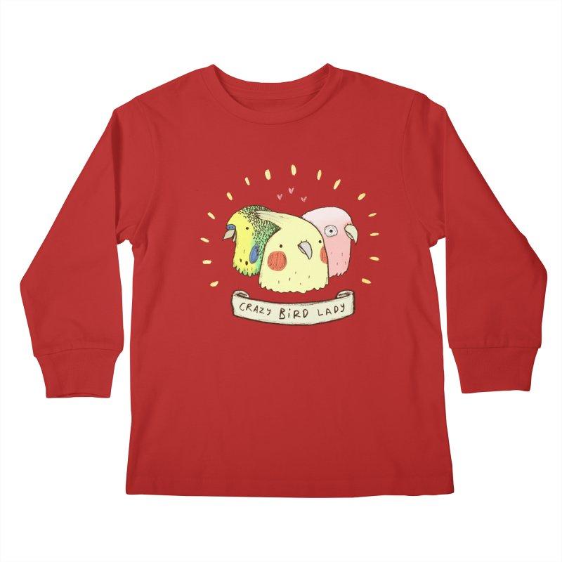 Crazy Bird Lady Kids Longsleeve T-Shirt by Sophie Corrigan's Artist Shop