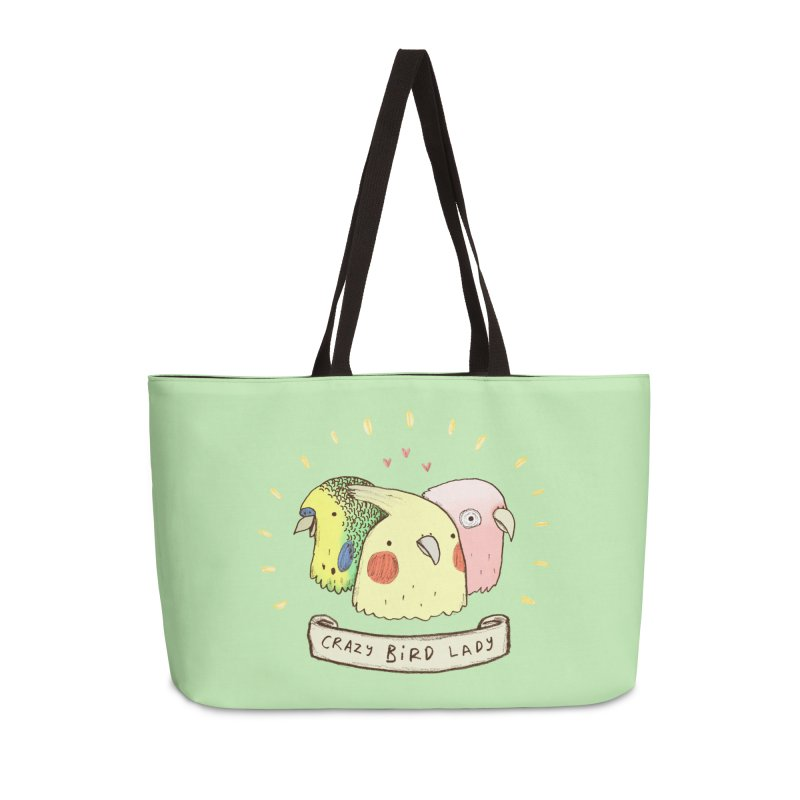 Crazy Bird Lady Accessories Weekender Bag Bag by Sophie Corrigan's Artist Shop