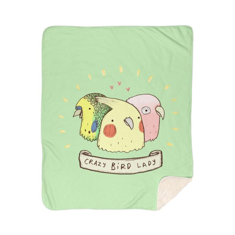 Crazy Bird Lady Home Sherpa Blanket Blanket by Sophie Corrigan's Artist Shop