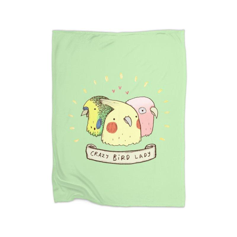 Crazy Bird Lady Home Fleece Blanket Blanket by Sophie Corrigan's Artist Shop