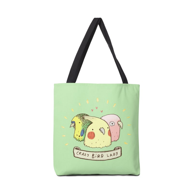 Crazy Bird Lady Accessories Tote Bag Bag by Sophie Corrigan's Artist Shop