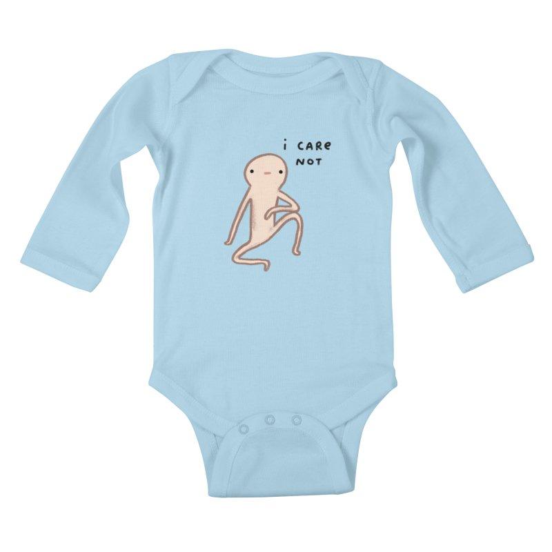 Honest Blob Cares Not Kids Baby Longsleeve Bodysuit by Sophie Corrigan's Artist Shop