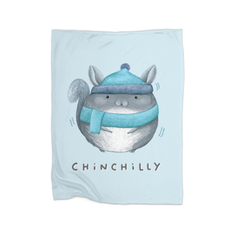 Chinchilly Home Fleece Blanket Blanket by Sophie Corrigan's Artist Shop