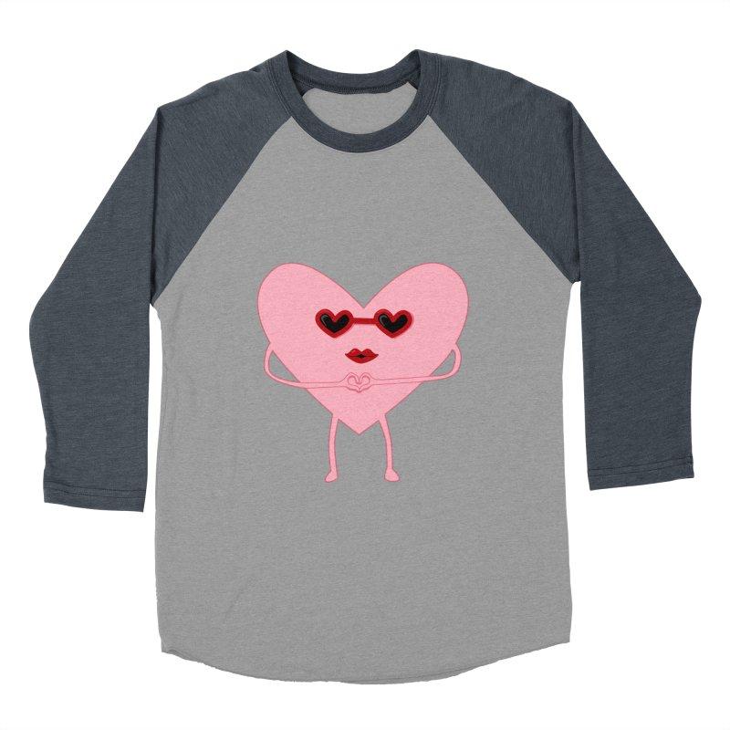 I Heart You Men's Baseball Triblend T-Shirt by katie creates