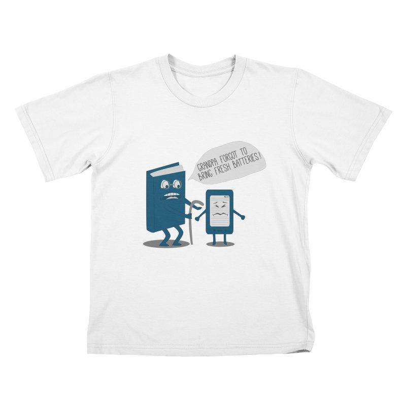 Fresh Batteries Kids T-shirt by katie creates