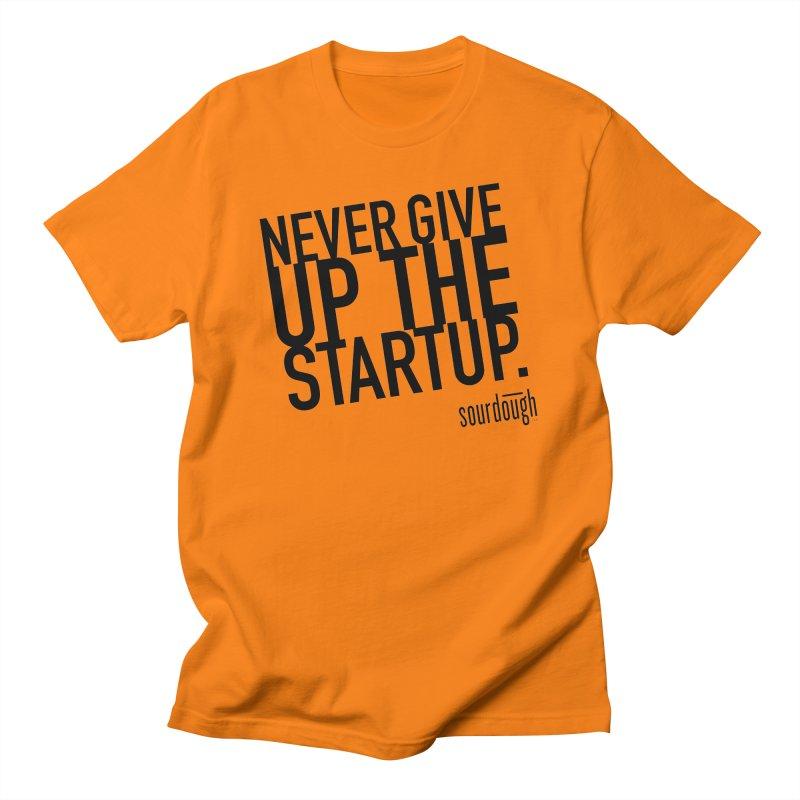Never Give Up the Startup Black Logo Men's T-Shirt by sourdoughllc's Artist Shop