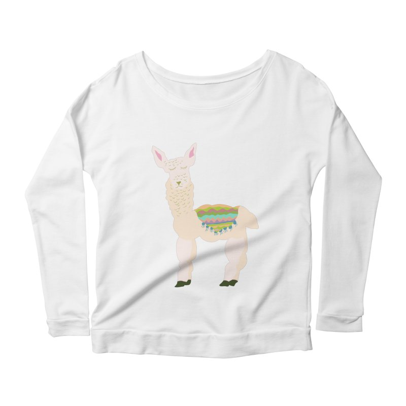 Llama Party! Women's Scoop Neck Longsleeve T-Shirt by Southerly Design Artist Shop