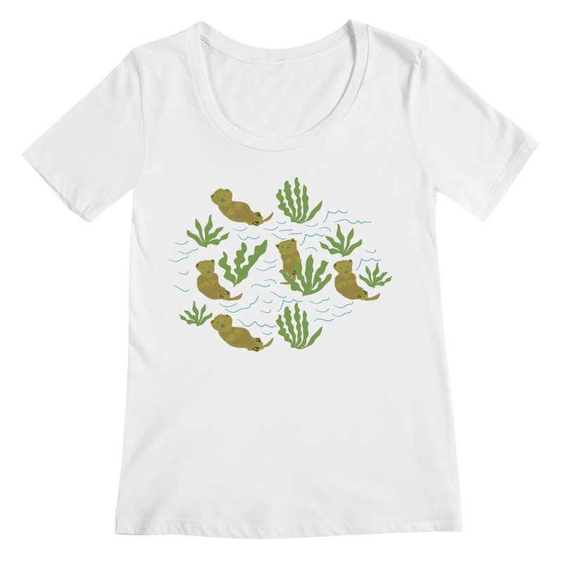Otterly Adorbs Sea Otters Women's Regular Scoop Neck by Southerly Design Artist Shop
