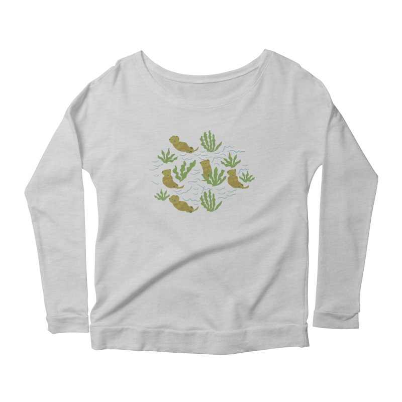 Otterly Adorbs Sea Otters Women's Scoop Neck Longsleeve T-Shirt by Southerly Design Artist Shop