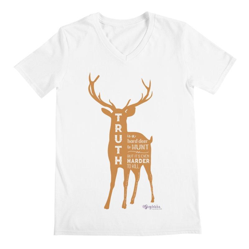 Truth is a hard deer to hunt. Men's V-Neck by random facts