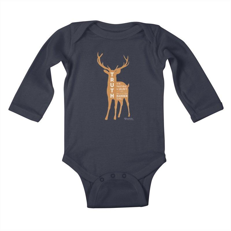 Truth is a hard deer to hunt. Kids Baby Longsleeve Bodysuit by random facts