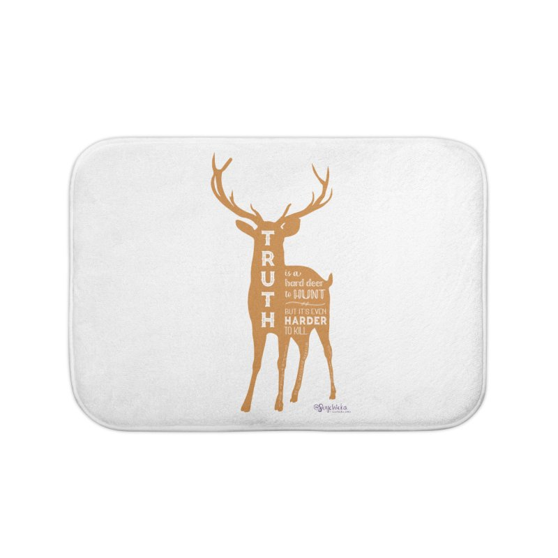 Truth is a hard deer to hunt. Home Bath Mat by random facts