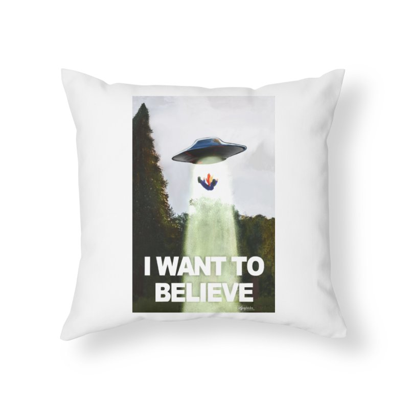I Want To Believe Home Throw Pillow by random facts